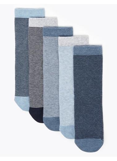 Marks & Spencer 5'li Pamuklu Çorap Seti Mavi